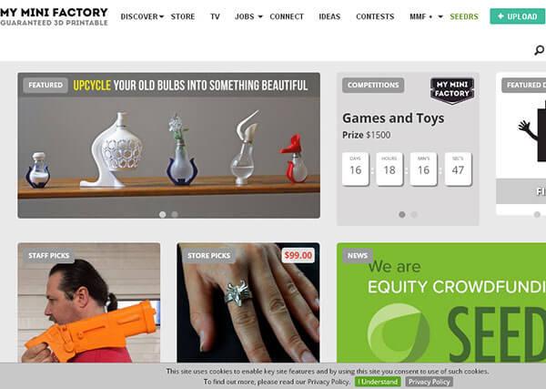 تصویر صفحه اصلی وب سایت myminifactory