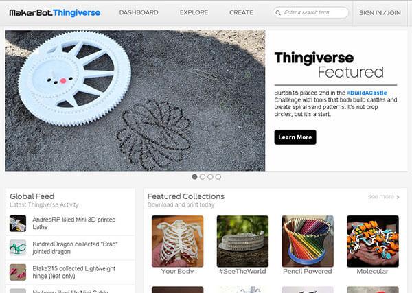 تصویر صفحه اصلی وب سایت thingiverse